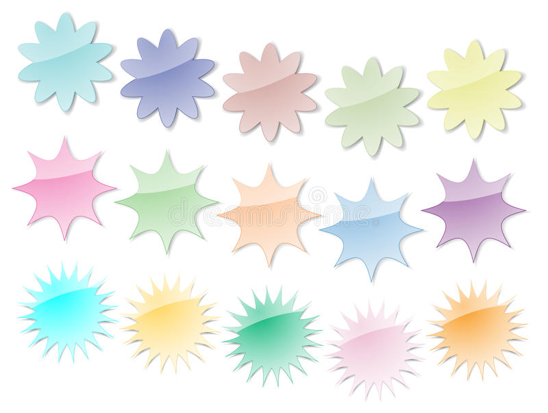 Download Starburst Stickers In Pastel Colors Stock Vector - Illustration: 12347212