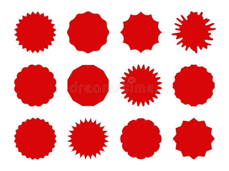 Starburst stickers. Star shaped sale banners, speech bubble stickers. Red explosion signs, promo price coupon tag vector royalty free illustration