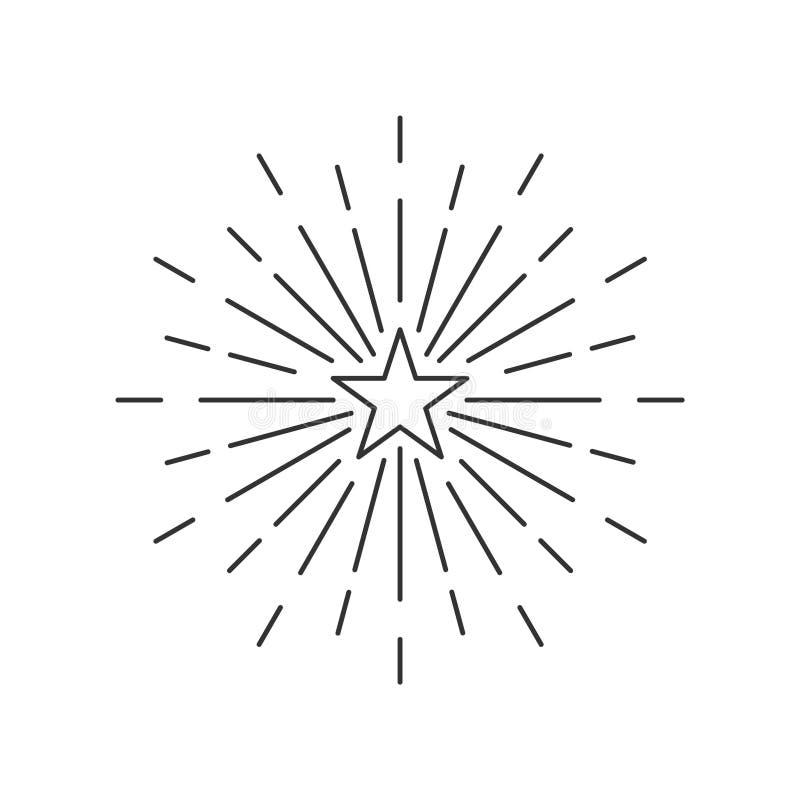 Starburst, stjärnabristning eller stjärnljuslinje konstbeståndsdel royaltyfria bilder