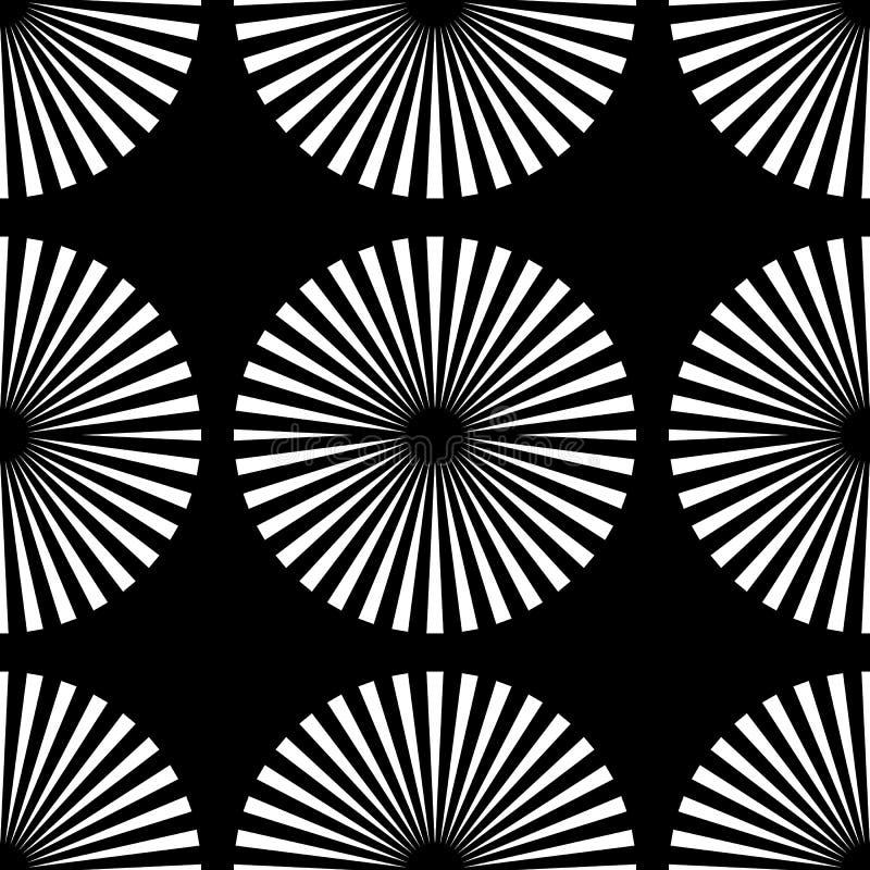 Starburst strålar, sömlös geometrisk modell för strålar Monokrom r royaltyfri illustrationer