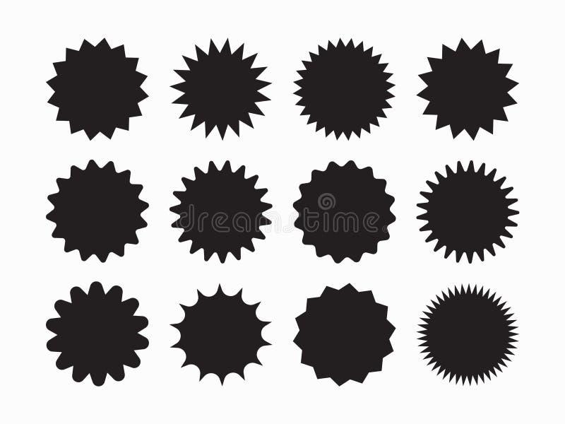 Установите starburst вектора, sunburst значков Черные значки на белой предпосылке Ярлыки простого плоского стиля винтажные, стике бесплатная иллюстрация