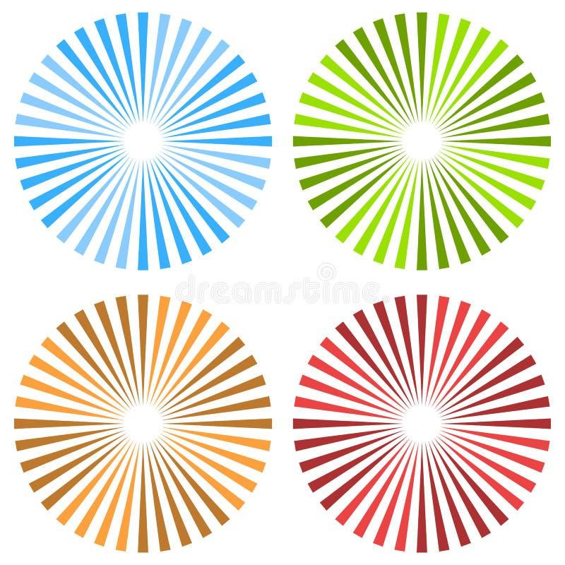 Free Starburst, Sunburst Circular Pattern In 4 Color. Colorful Rays, Stock Photo - 83652210