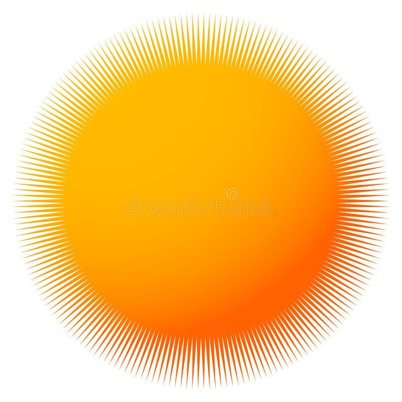 Starburst, sunburst com linhas radiais finas Colorido crachá-como ilustração royalty free