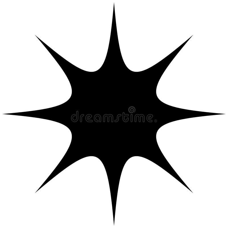Starburst, sunburst or gleam, glitter shape, element silhouette. Royalty free vector illustration vector illustration