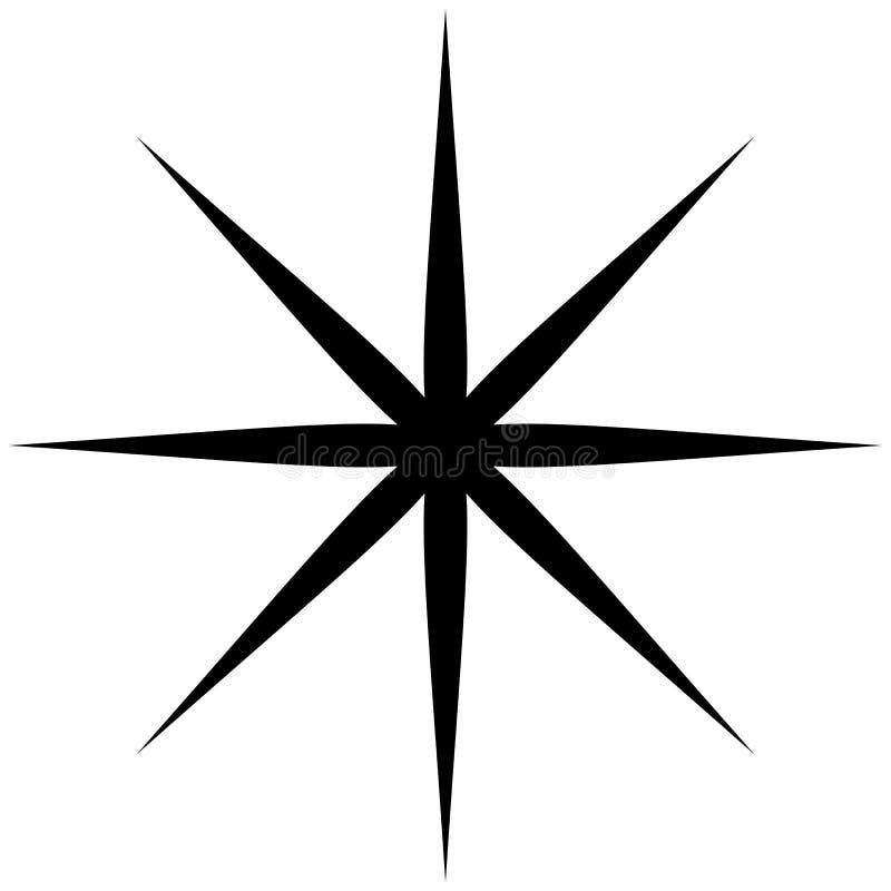 Starburst, sunburst lub migot, błyskotliwość kształt, element sylwetka ilustracja wektor