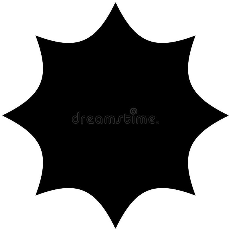 Starburst, sunburst ou gleam, forma do brilho, silhueta do elemento ilustração stock