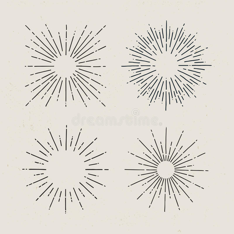 Starburst, sunrays. Set of hand drawn sunbursts on light background. stock illustration