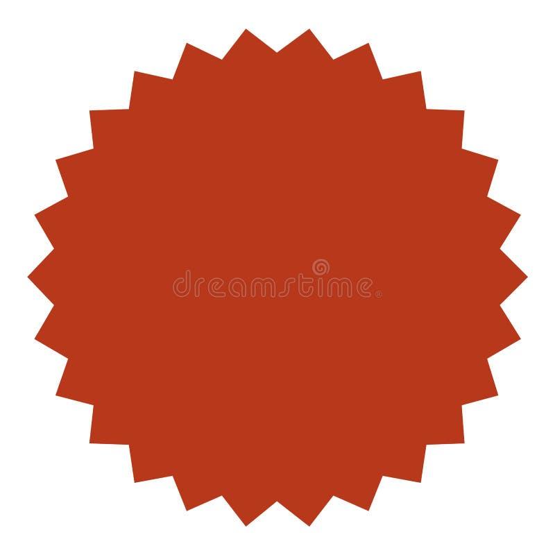 Starburst vermelho, crachá do sunburst Etiqueta do vintage, etiqueta Estilo liso simples Elementos do projeto Ilustração do vetor ilustração royalty free