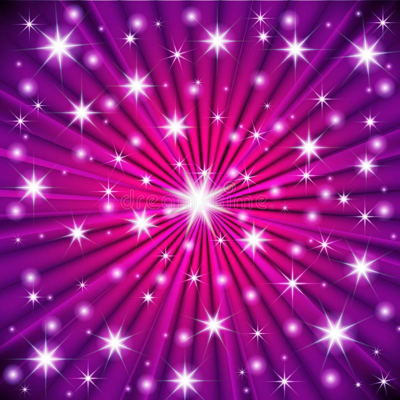 Starburst wektor, gwiazdy na fiołkowego tła graficznym projekcie Latać błyska, migotanie confetti puszka spada wzór Noc gra główn royalty ilustracja