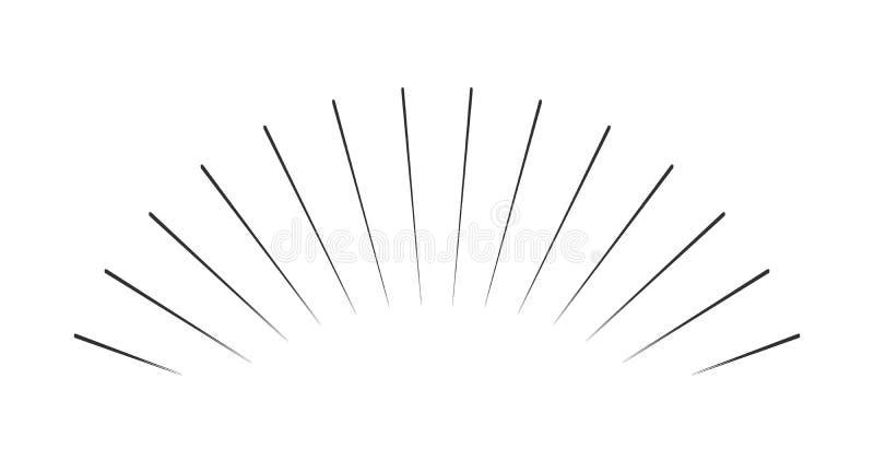 Starburst wybuchu promieni wschód słońca fajerwerku sunbeam wybuchu iskrowej linii rocznika promieniowy emblemat Wektorowa ilustr royalty ilustracja
