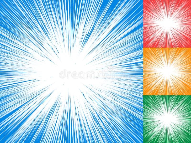 Starburst, zonnestraal, stralen van licht element Cirkel, radiale lin stock illustratie