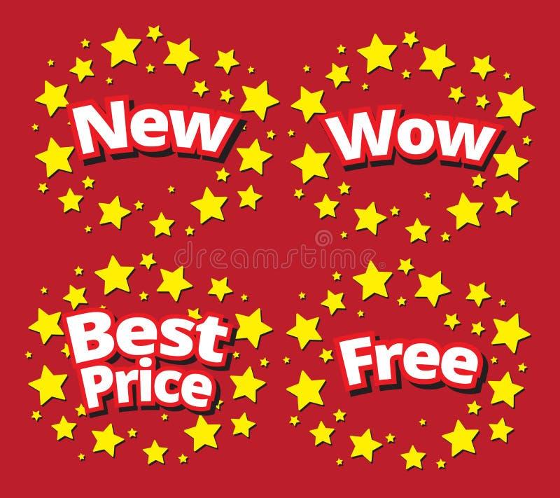 Starbursts sprzedaży sztandaru promoci ustalony set ilustracja wektor