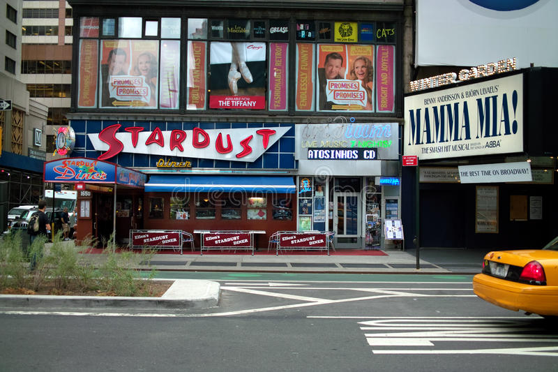 Stardust Diner, Broadway, New York, USA. Stardust Diner, Iridium Club, and Winter Garden, on Broadway, New York. The Iridium Club is where Les Paul played guitar royalty free stock image