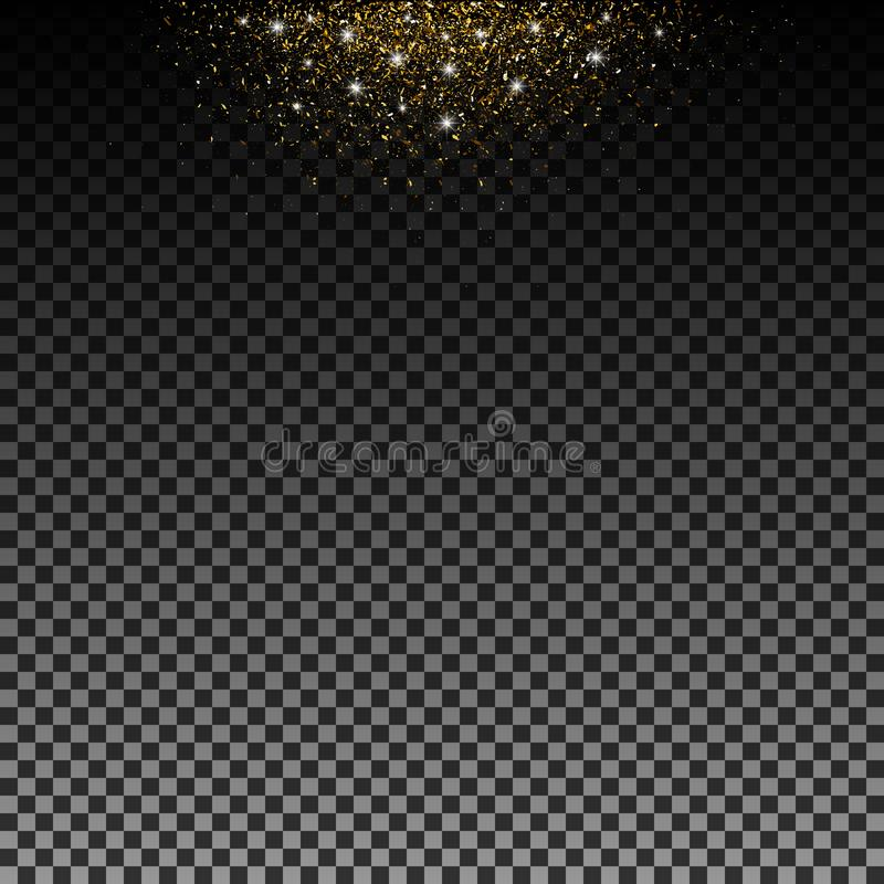 Stardust gold. Particles shimmer brilliance. Glowing stars. Decoration for new year Christmas holiday, confetti. Vector isolated. Stardust gold. Particles vector illustration