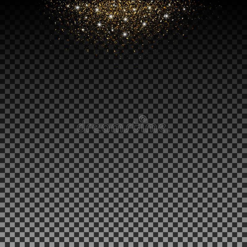 Stardust-Gold Partikel schimmern Helligkeit Glühende Sterne Dekoration für neues Jahr Weihnachtsfeiertag, Konfetti Vektor lokalis vektor abbildung