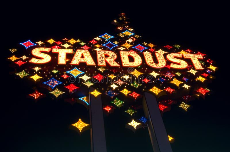 The Stardust Hotel sign lights up during its final year of business in 2006. Before the implosion of the The Stardust Hotel in 2007 in Las Vegas, Nevada, the stock photo