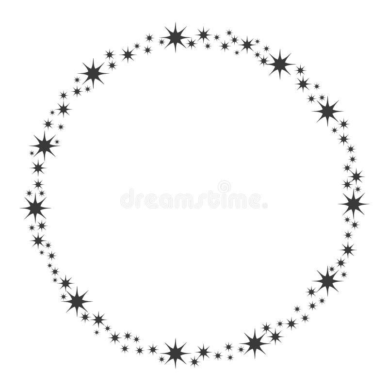Stardust-Rahmen Gl?nzender Sternkreisrahmen, sternenklarer Funkelnstempel und runde magische Funkelnsterne verfolgen Glanz stardu stock abbildung
