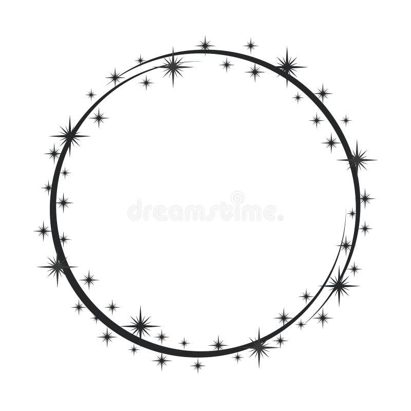 Stardust-Rahmen Gl?nzender Sternkreisrahmen, sternenklarer Funkelnstempel und runde magische Funkelnsterne verfolgen Glanz stardu vektor abbildung