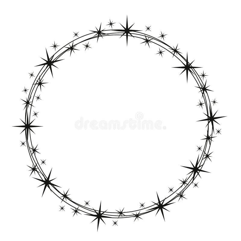 Stardust-Rahmen Gl?nzender Sternkreisrahmen, sternenklarer Funkelnstempel und runde magische Funkelnsterne verfolgen Glanz stardu lizenzfreie abbildung