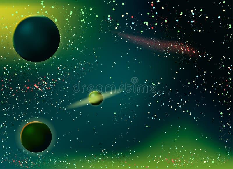 Stardust y estrellas brillantes brillantes en espacio libre illustration