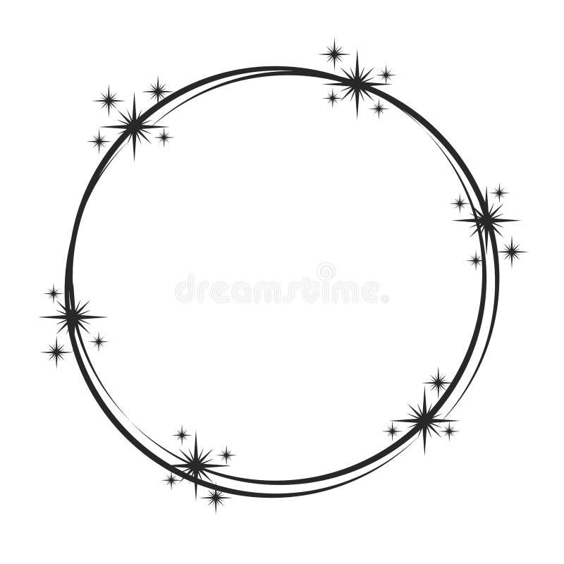 Stardustkader Het glanzende sterrige kader van de stercirkel, schittert zegel en magische de ronde fonkelt sterrenspoor Glans sta stock illustratie