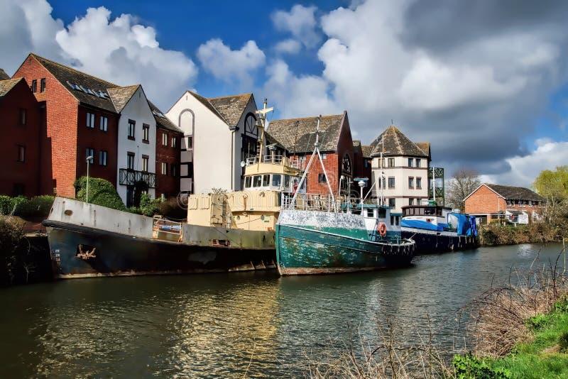 Stare łodzie Przy Exeter zdjęcia royalty free