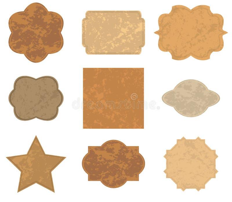 Stare Brown karty (ramy) - set - wektor ilustracji