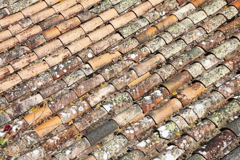 Stare ceramiczne dachowe płytki w Cabrespine fotografia royalty free