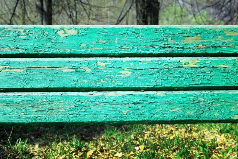Stare drewniane deski z krakingową zieloną farbą W tle trawa i drzewa zamazują obraz stock