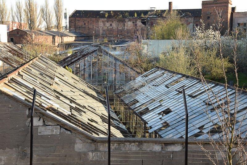 Stare fabryk ruiny i zaniechana szklarnia zdjęcie stock