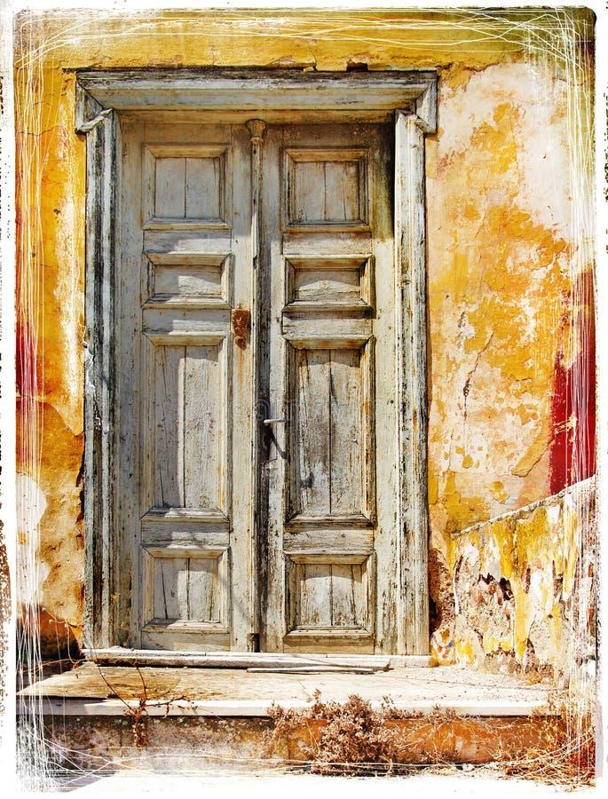 stare greckie drzwi wyspy obraz royalty free