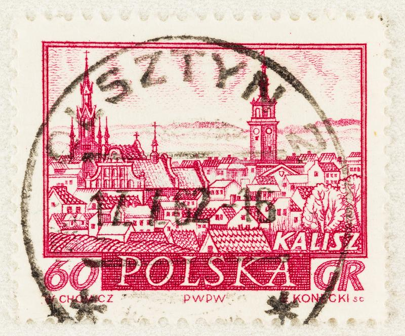 Stare Historyczne Miasto Kaliskie Polska na Pieczęci Pocztowe zdjęcie royalty free