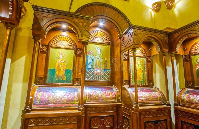 Stare ikony w ortodoksyjnym St Sergius kościół w Kair, Egipt zdjęcie royalty free