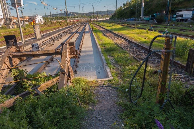 Stare koleje w Niemieckim mieście zdjęcie stock