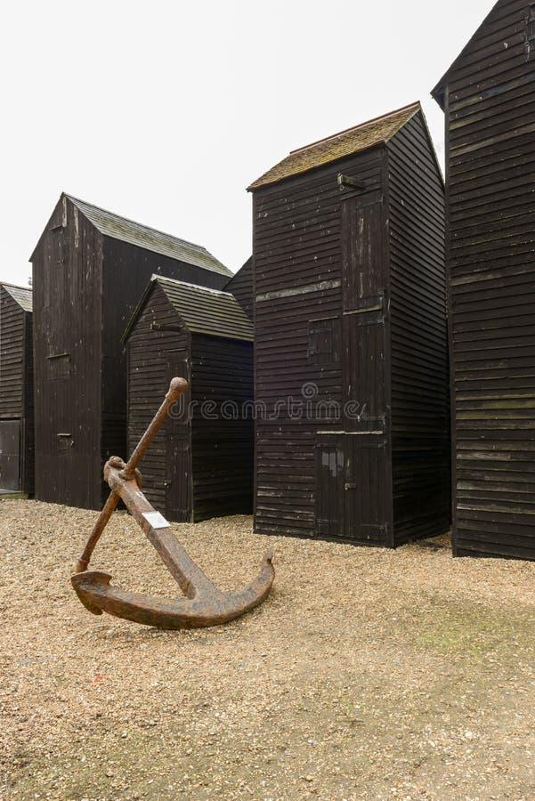 Stare kotwicy i ryba netto budy, Hastings obrazy royalty free