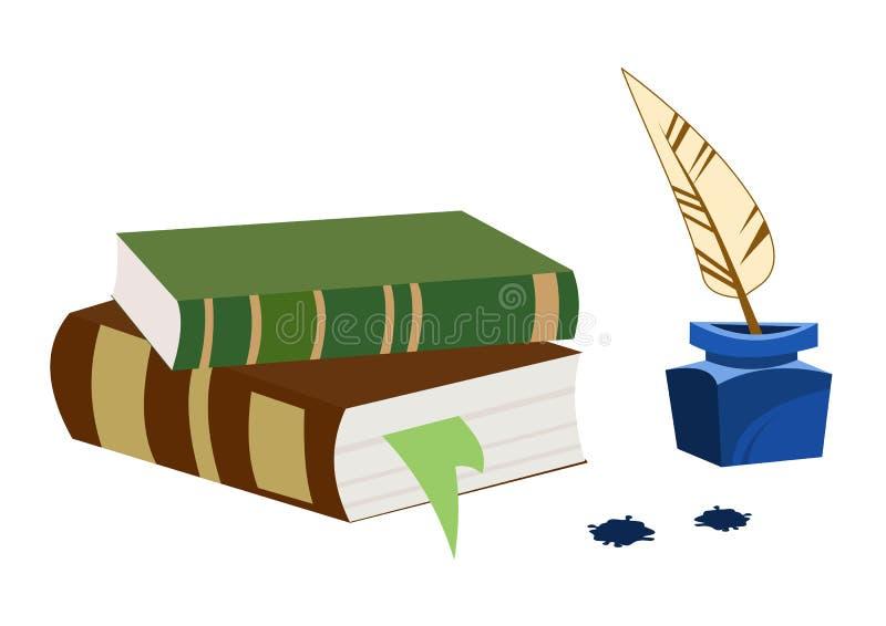 Stare książki, kałamarz i pióro, Biurko pisarz ilustracja retro royalty ilustracja