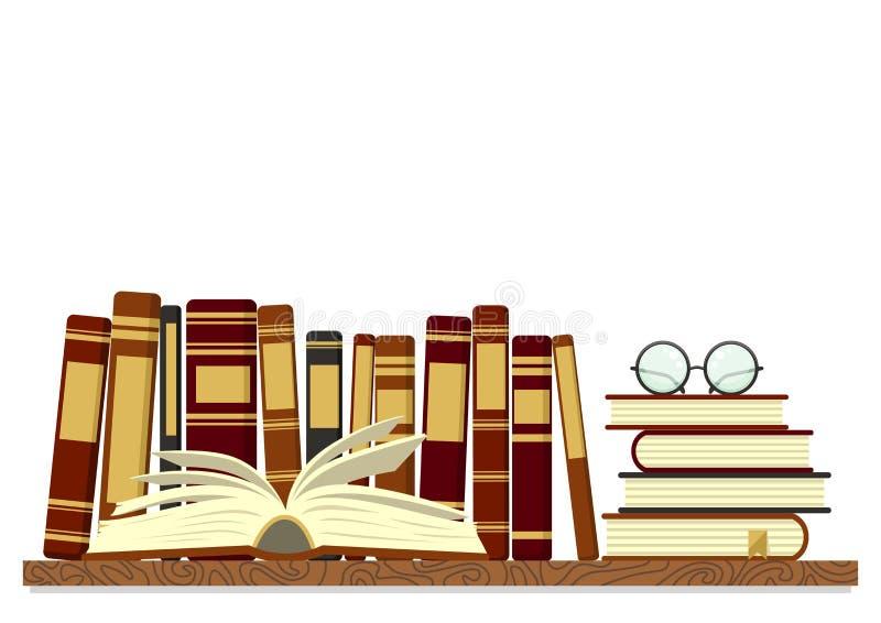 Stare książki na półce z otwartą książką i szkłami na białym tle ilustracja wektor
