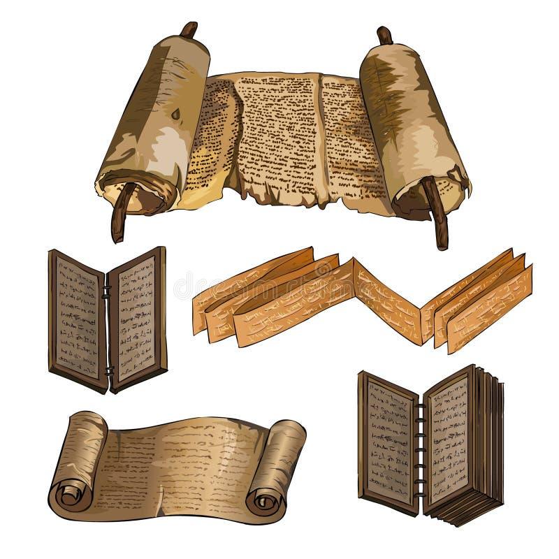 stare księgi Papirus, drewniana książka Pisać antycznych ludzi royalty ilustracja