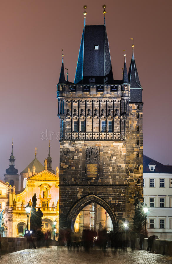 Stare Mesto Tower From The Charles Bridge At Night, Prague. Stock Photography