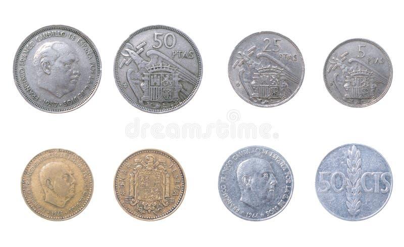 stare monety Hiszpanii fotografia royalty free