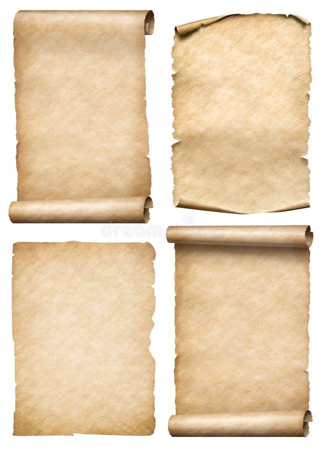 Stare papierowe ślimacznicy i pergaminy ustawiają realistc 3d ilustrację royalty ilustracja
