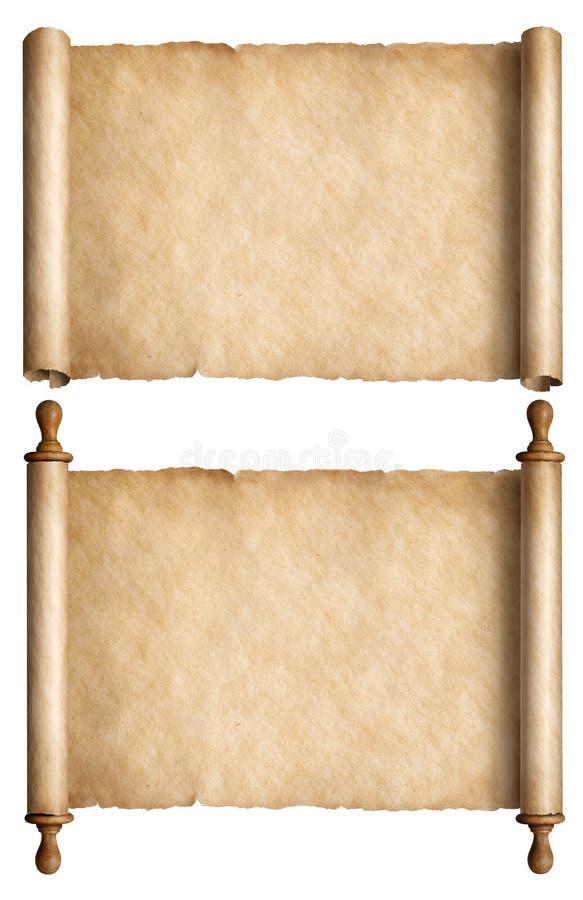 Stare papierowe ślimacznicy lub antyczni pergaminy ustawiają odosobnioną 3d ilustrację ilustracja wektor