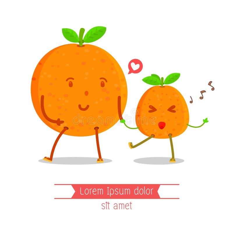 Stare pomarańcze trzyma ręk młode pomarańcze charakter, Szczęśliwy, Śpiewają pieśniowego, Rozochoconego pomarańczowego charakteru fotografia royalty free