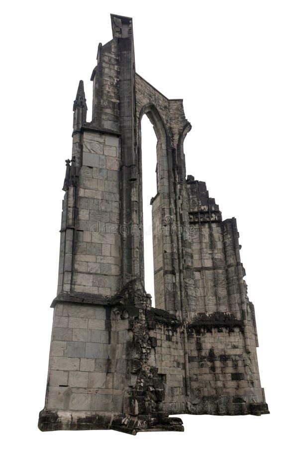 Stare ruiny budynek, biały tło, odizolowywający zdjęcia stock