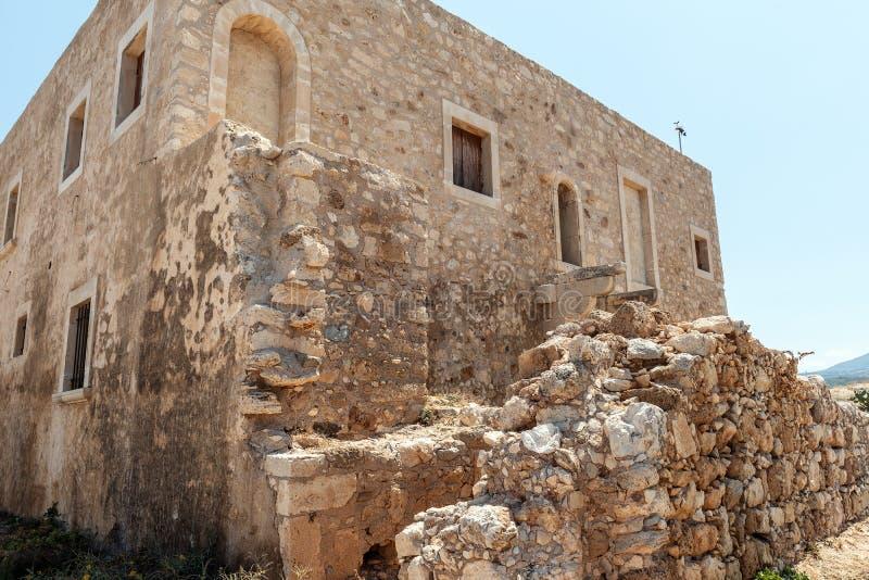 Stare ruiny forteca, lokalizować przy Rethymno miasteczkiem, Crete wyspa, Grecja obrazy stock