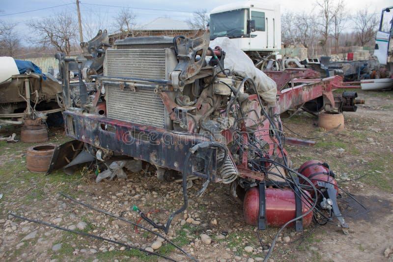 Stare rujnować, porzucać ciężarówki, Zbliżenie stara i zaniechana ciężarówka obrazy stock