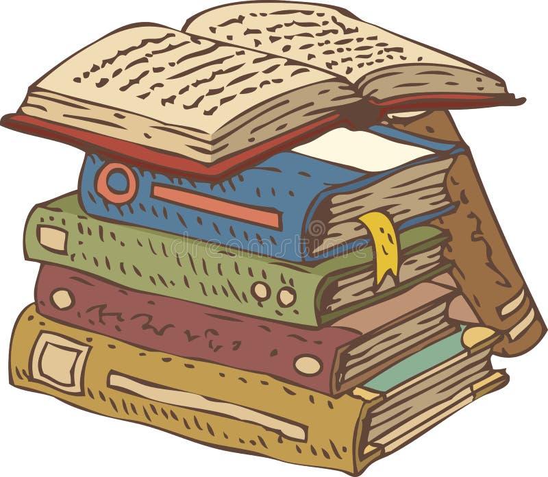 stare stosu książek ilustracji