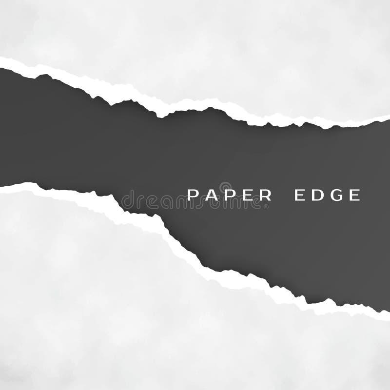 Stare szarość drzejący papier odizolowywający nad czarnym tłem drzejący krawędź papier struktura papierowej royalty ilustracja