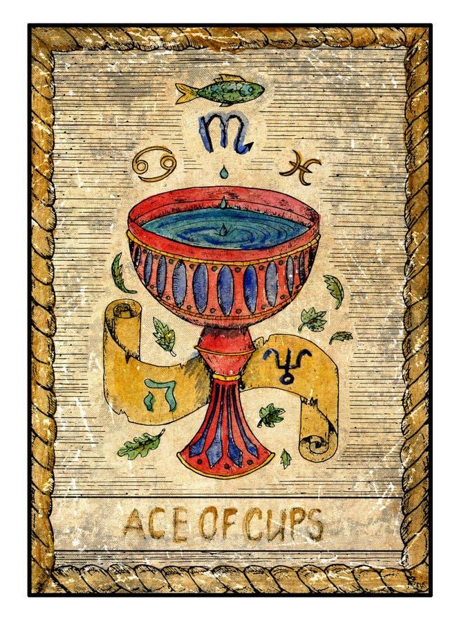Stare tarot karty Pełny pokład as filiżanki royalty ilustracja