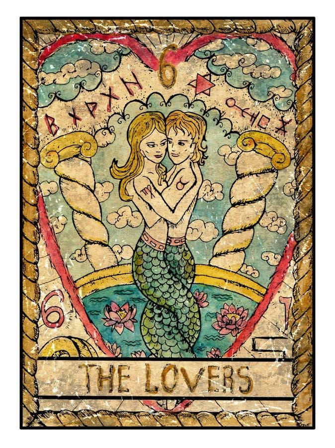 Stare tarot karty Pełny pokład Kochankowie royalty ilustracja